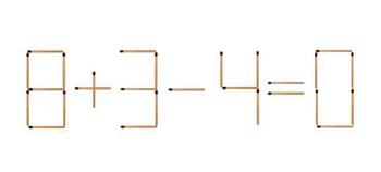 Математические головоломки - переложите только одну спичку, чтобы получить верное равенство.